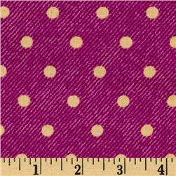 VIP Denim Texture Polka Dot Magenta/Yellow