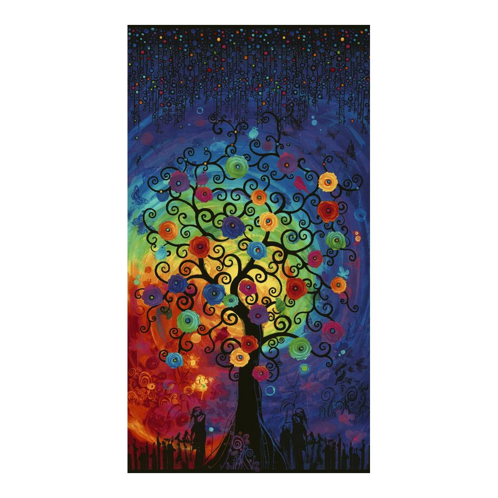 Timeless Treasures Fantasy Forest 24'' Tree Panel Bright Fabric
