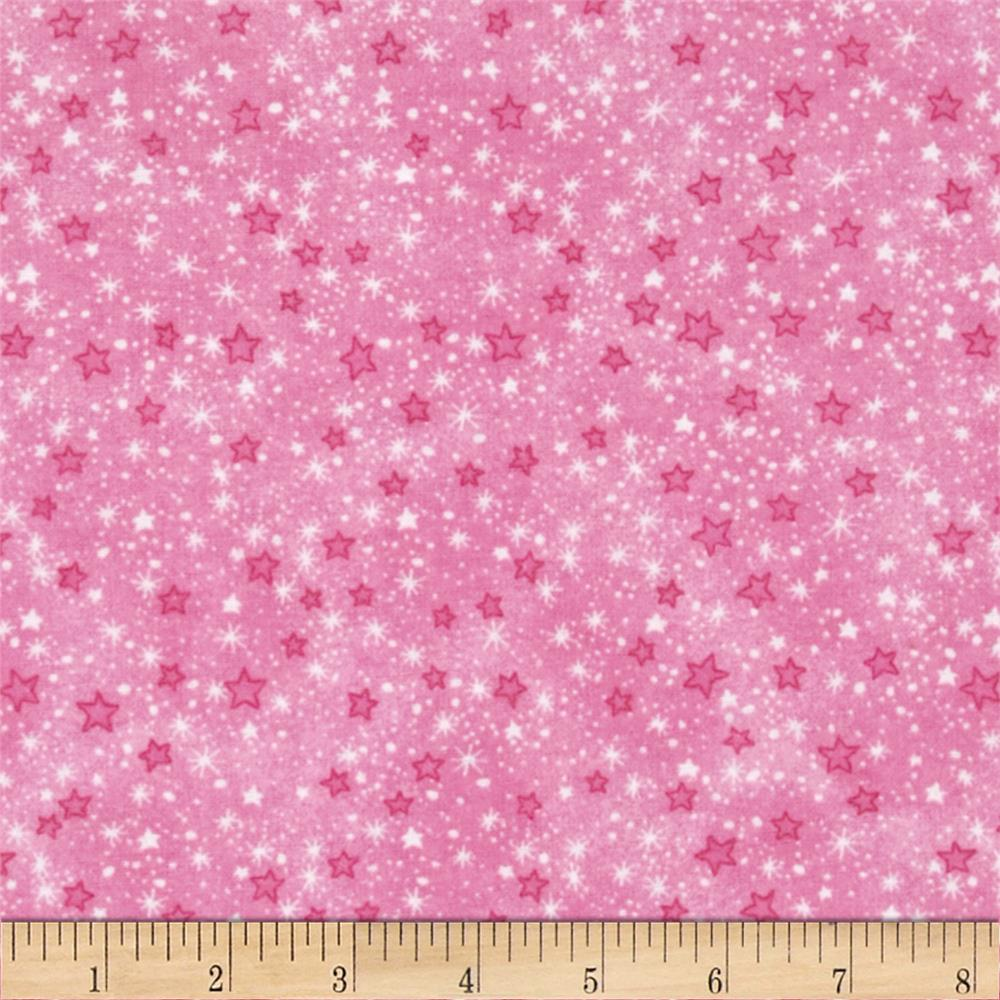 Flannel Stars Pink Fabric