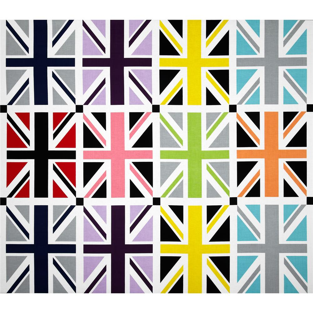 Riley Blake Union Jack 24'' Panel Grey Fabric By The Yard