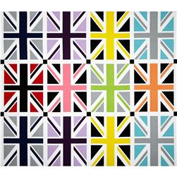 Riley Blake Union Jack 24'' Panel Grey Fabric