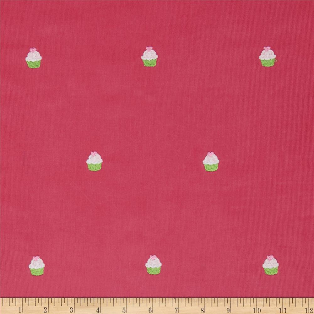 Embroidered 21 Wale Corduroy Cupcake Hot Pink/Green