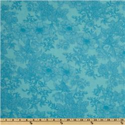 108'' Wide Tonal Bouquet Quilt Backing Aqua