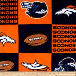 NFL Fleece Denver Broncos Squares Orange Fabric
