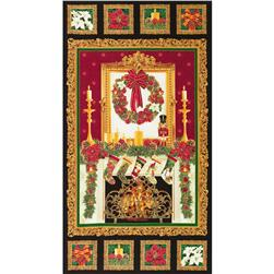 Timeless Treasures Holiday Hearth 24 In. Metallic Panel Black