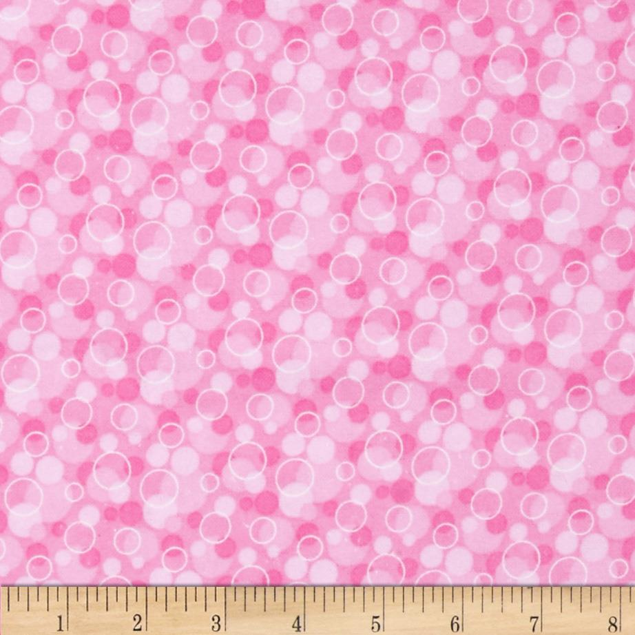Flannel Tossed Bubbles Pink Fabric