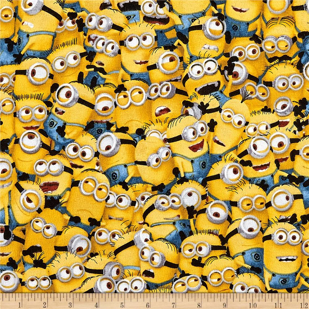 Universal Despicable Me Flannel Packed Minions Yellow Fabric By The Yard