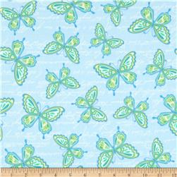 Butterfly Kisses Flannel Butterflies Blue