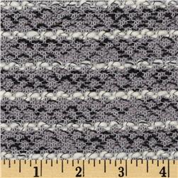 Designer Boucle Sweater Knit Stripes Grey/Black/Beige Fabric