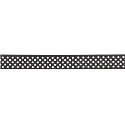 "Riley Blake 3/8"" Grosgrain Ribbon White Dots Black"