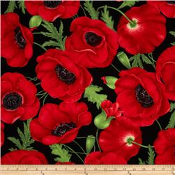 Flora Large Poppy Red Fabric