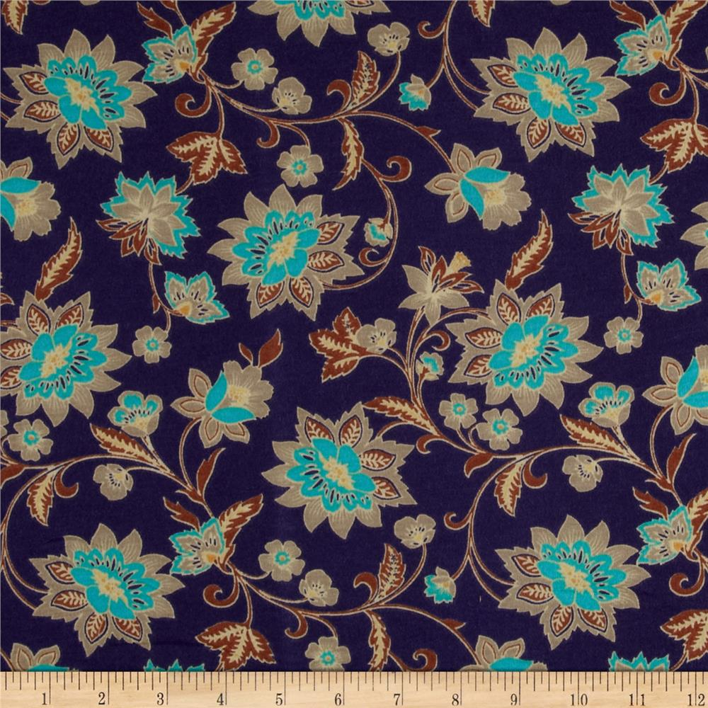 Stretch Soft Jersey Knit Floral Purple/Brown/Tan/Turquoise