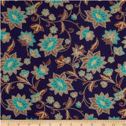 Stretch Soft Jersey Knit Floral Purple/Brown/Tan/Turquoise Fabric