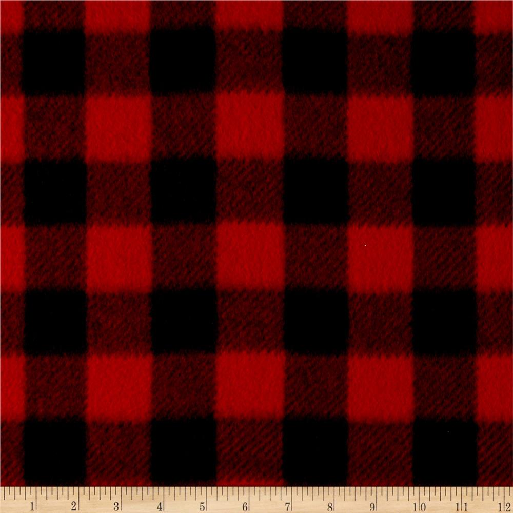 Winter Fleece Buffalo Plaid Red Discount Designer Fabric
