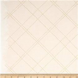 Kaufman Carkai Metallic Diagonal Plaid Ice Peach