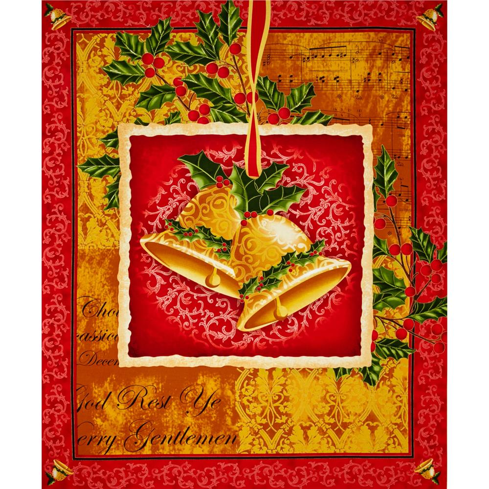 Christmas Bells 36 In. Metallic Panel Red/Gold