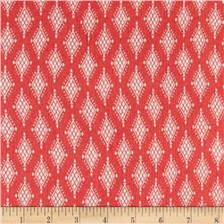Rayon Crepe Challis Diamond Sequence Coral/White