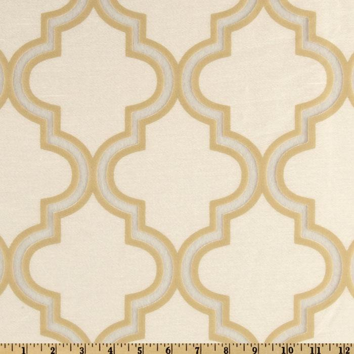 Softline Penrose Tile Burnout Drapery Sheers Champagne/White