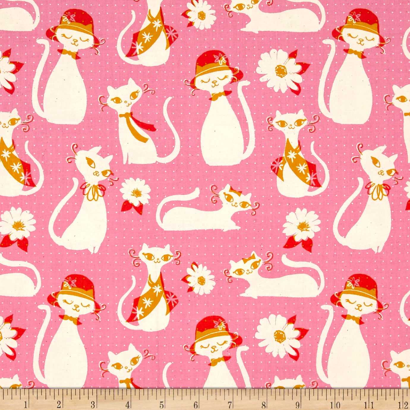 Image of Cotton + Steel Beauty Shop Fancy Cats Pink Fabric