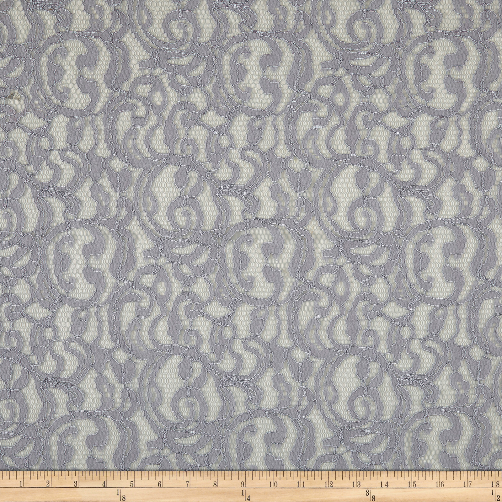 Scrolls Corded Lace Gray Fabric