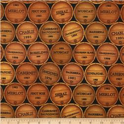 Vineyard Collection Wine Barrels Wine Fabric