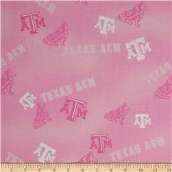 Collegiate Cotton Broadcloth Texas A&M Pink