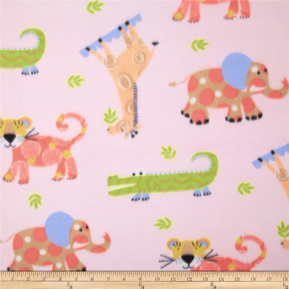 Fleece Print Tiny Jungle Pink