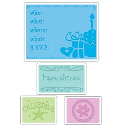 Sizzix Textured Impressions Embossing Folders 4 Pack-Birthday Set