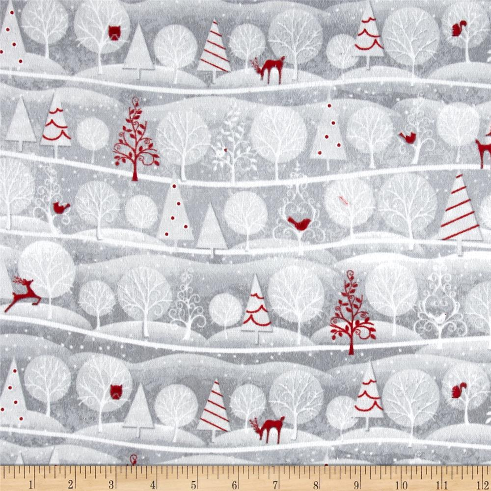 Holiday Frost Flannel Novelty Stripe Gray Fabric By The Yard