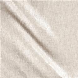 Roma Hanky Metallic Linen Silver on Oatmeal