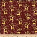 Golden Holiday Metallic Reindeer Scroll Red