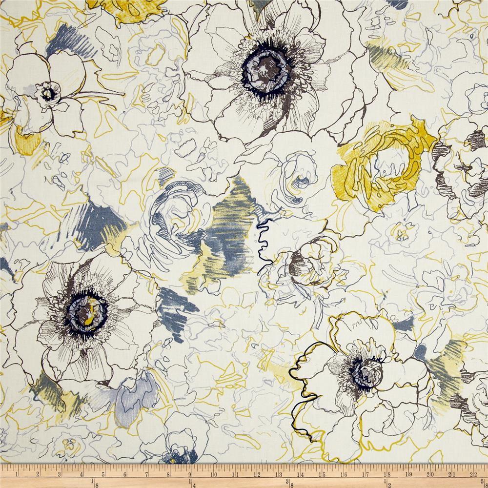 Richloom Ellery Floral Denim Fabric By The Yard
