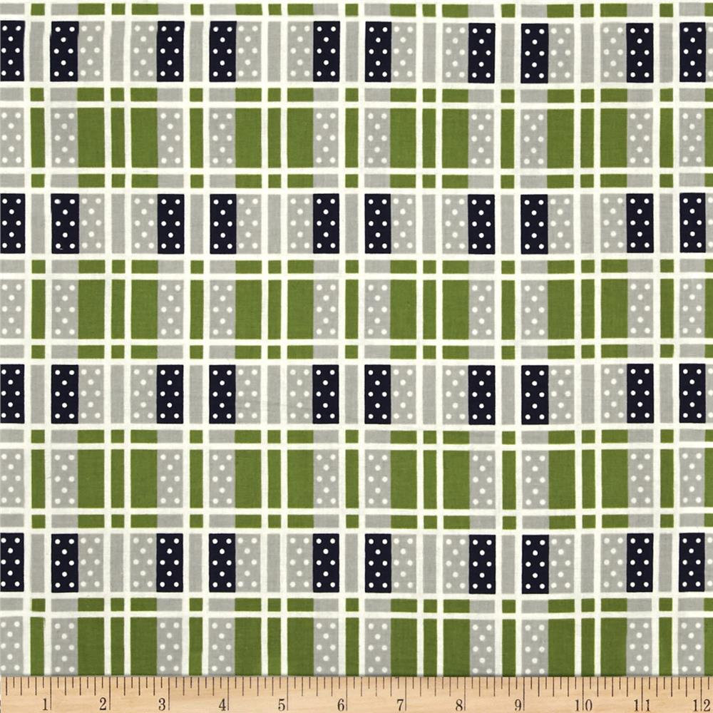 Cotton + Steel Lucky Strikes Domino Plaid Grass