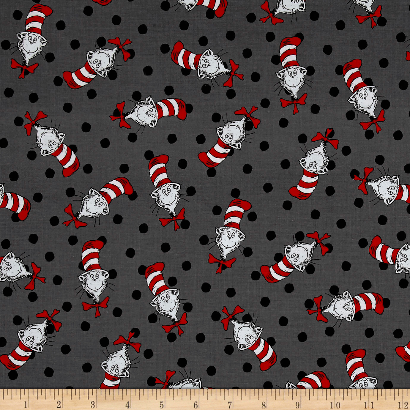 Kaufman The Cat In The Hat Thing Grey Fabric