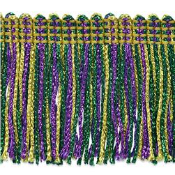 2'' Metallic Chainette Fringe Trim Mardi Gras Fabric