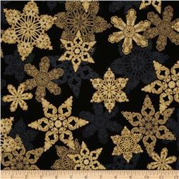 Holiday Flourish Metallic Star Antique Black Fabric