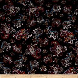 Rayon Challis Large Paisley Black/Brown