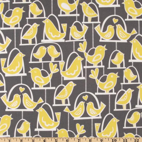 Michael Miller Citron Gray Bird Swing Gray