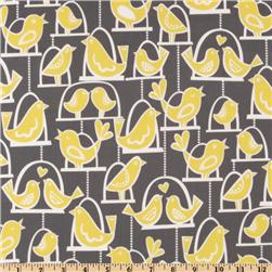 Michael Miller Citron Gray Bird Swing Gray Fabric