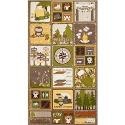 Riley Blake Camp a Lot Flannel Panel Brown
