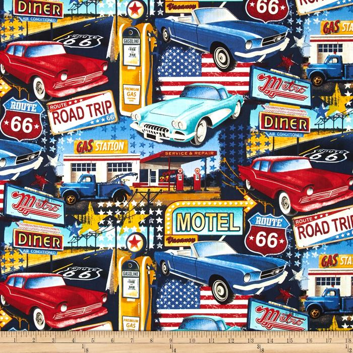 Timeless treasures road trip collage blue discount for Train themed fabric