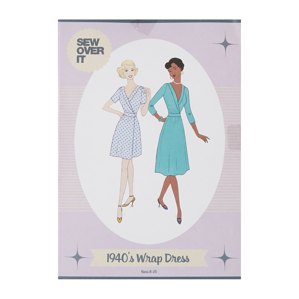 1950s Sewing Patterns | Swing and Wiggle Dresses, Skirts Sew Over It 1940s Wrap Dress Pattern $20.00 AT vintagedancer.com