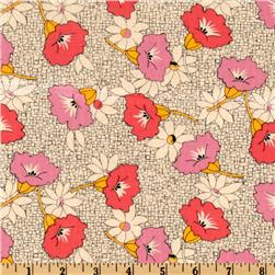 Antique Treasures Large Floral Tan/Pink