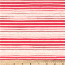 Sheer Yarn-Dyed Striped Jersey Knit Red