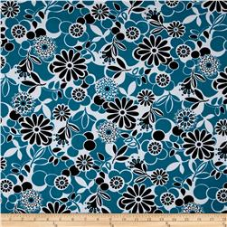 Happy Floral Fun Floral Activewear Turquoise/Black