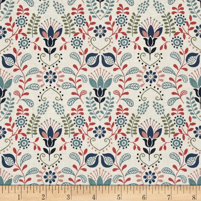 Lewis & Irene Home Sweet Home Red & Pink Flower Garden Ivory
