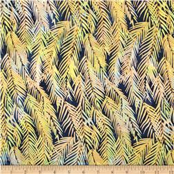 Indian Batik Fir Sprigs Metallic Navy/Pastel Multi