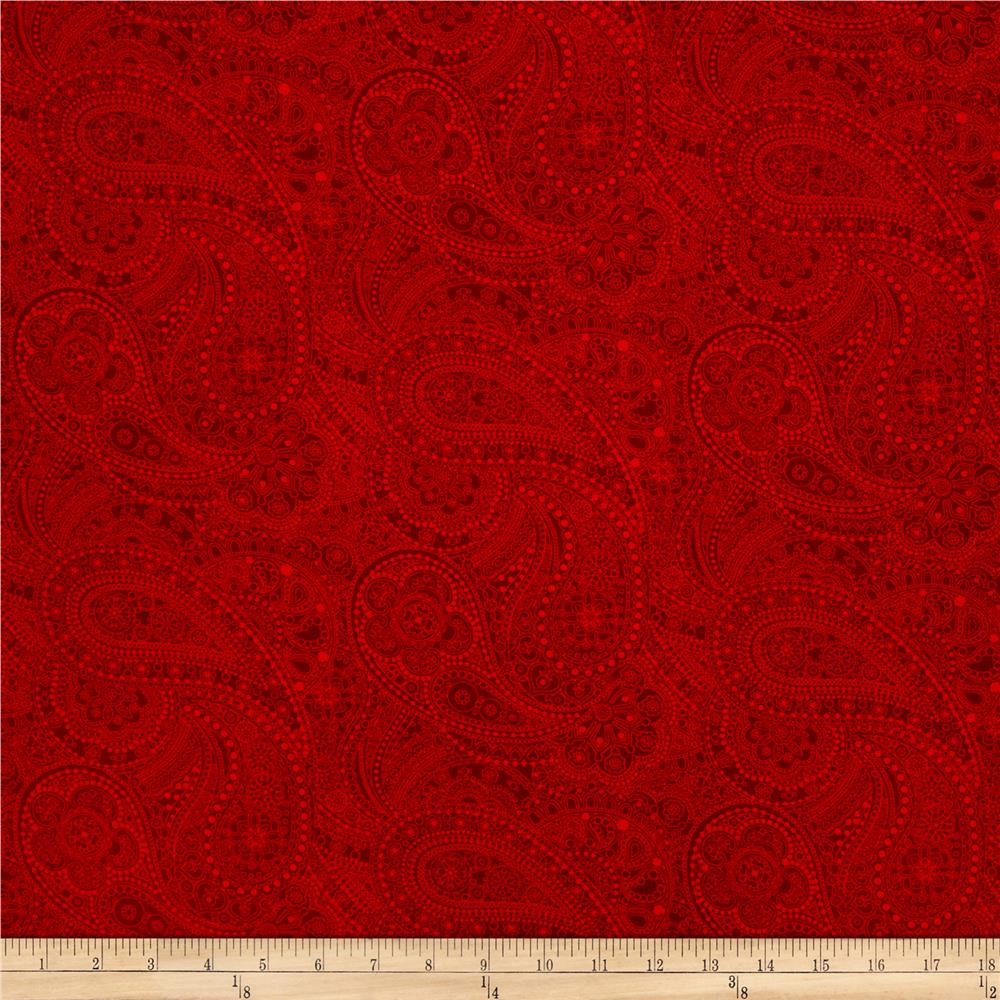 "108"" Wide Quilt Back Chelsea Dot Paisley Red"