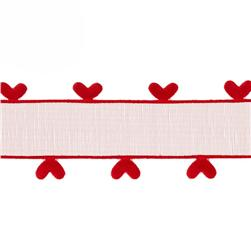 1'' Organza Ribbon Heart Edge Red