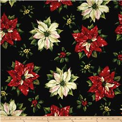 Tis The Season 58'' Wide Large Poinsettias Black